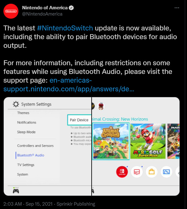 Twitter de áudio do Nintendo Switch Bluetooth